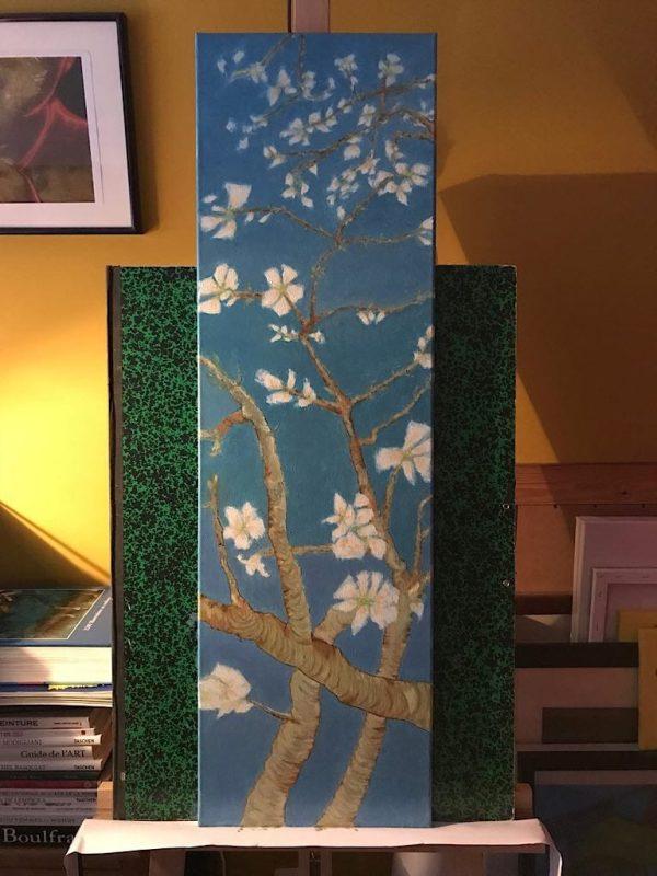 Tableau fleurs peinture a l huile sur toile