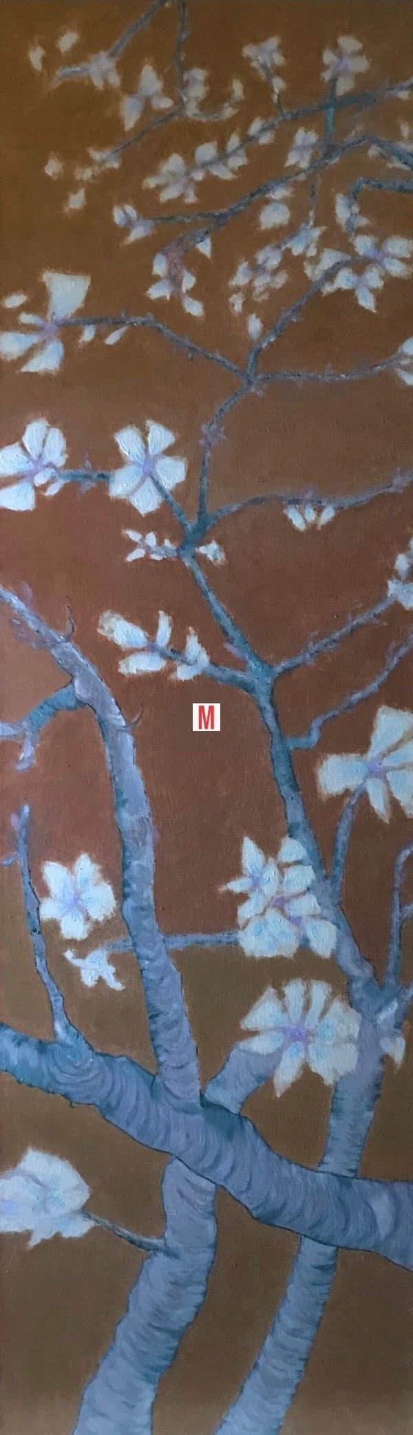 Tableau fleurs peinture a l huile et art numerique